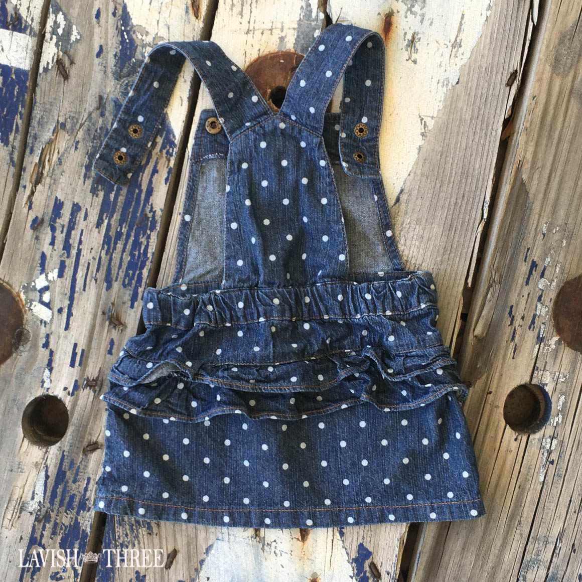 Denim polka dot girls overall dress baby  lavish three 3