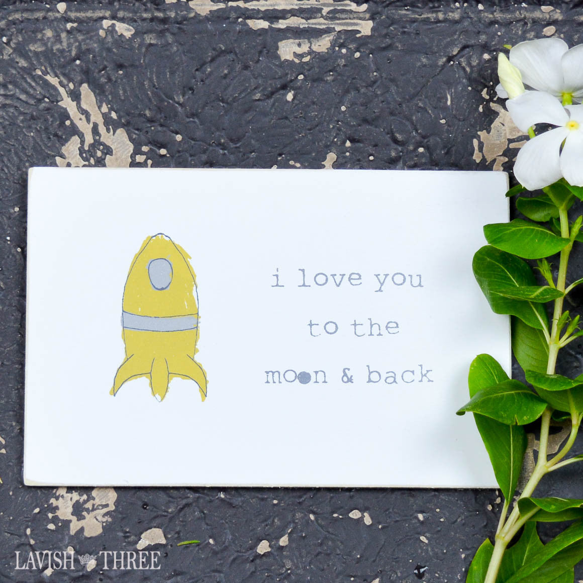 "Wood postcard ""i love you to the moon and back"""