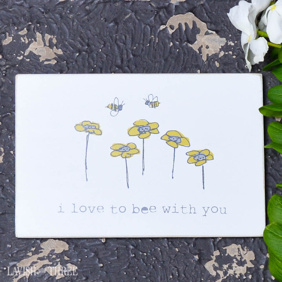 "Wood postcard ""i love to bee with you"""