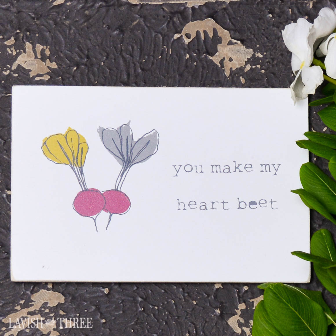 "Wood postcard ""you make my heart beet"""