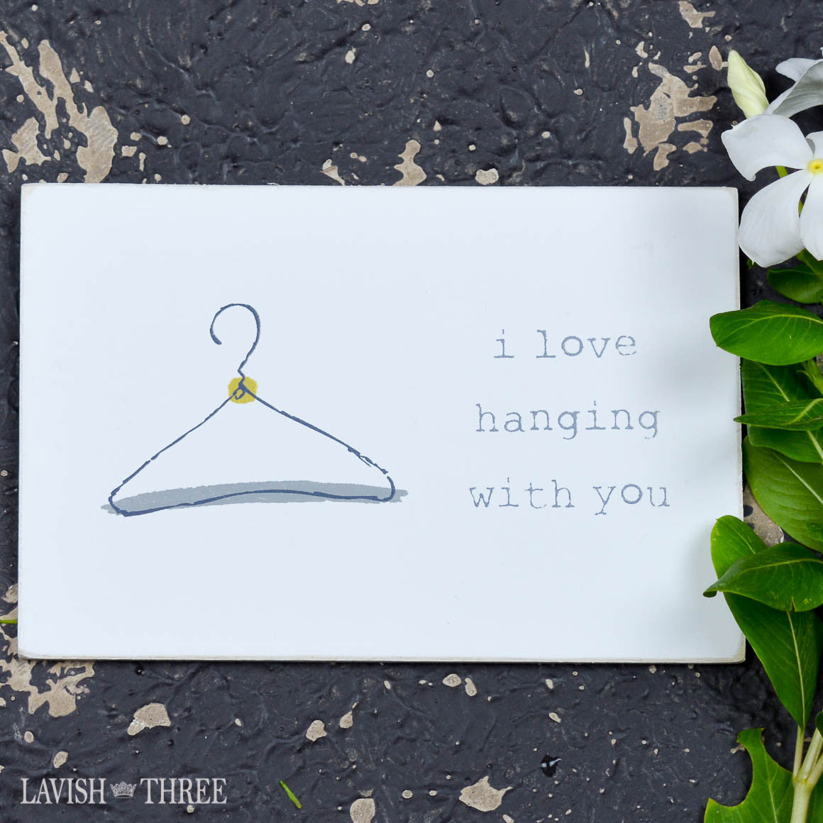 "Wood postcard ""i love hanging with you"""