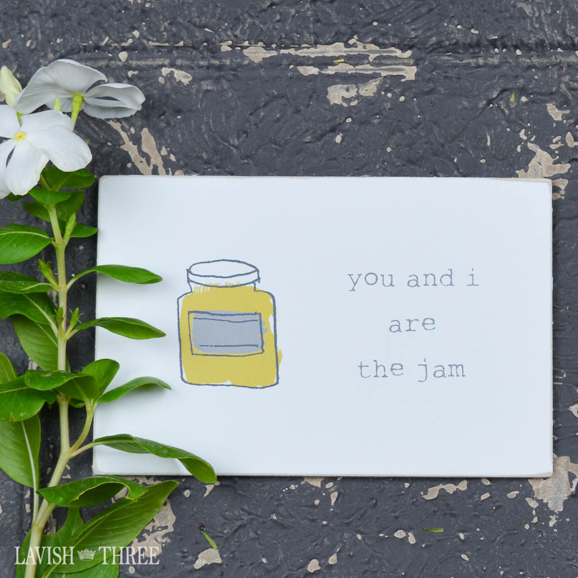 "Wood postcard ""you and i are the jam"""