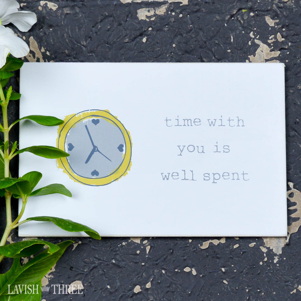"Wood postcard ""time spent with you is well spent"""