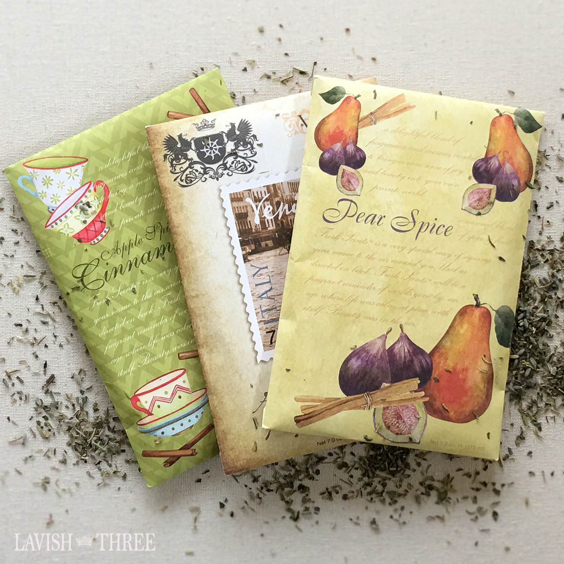 Sachets Apple spice, Venice, Pear Spice Lavish Three