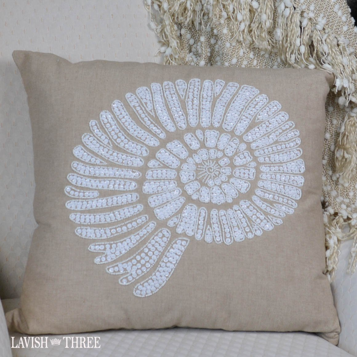 Beaded sea conch tan white decorative accent pillow Lavish three 3