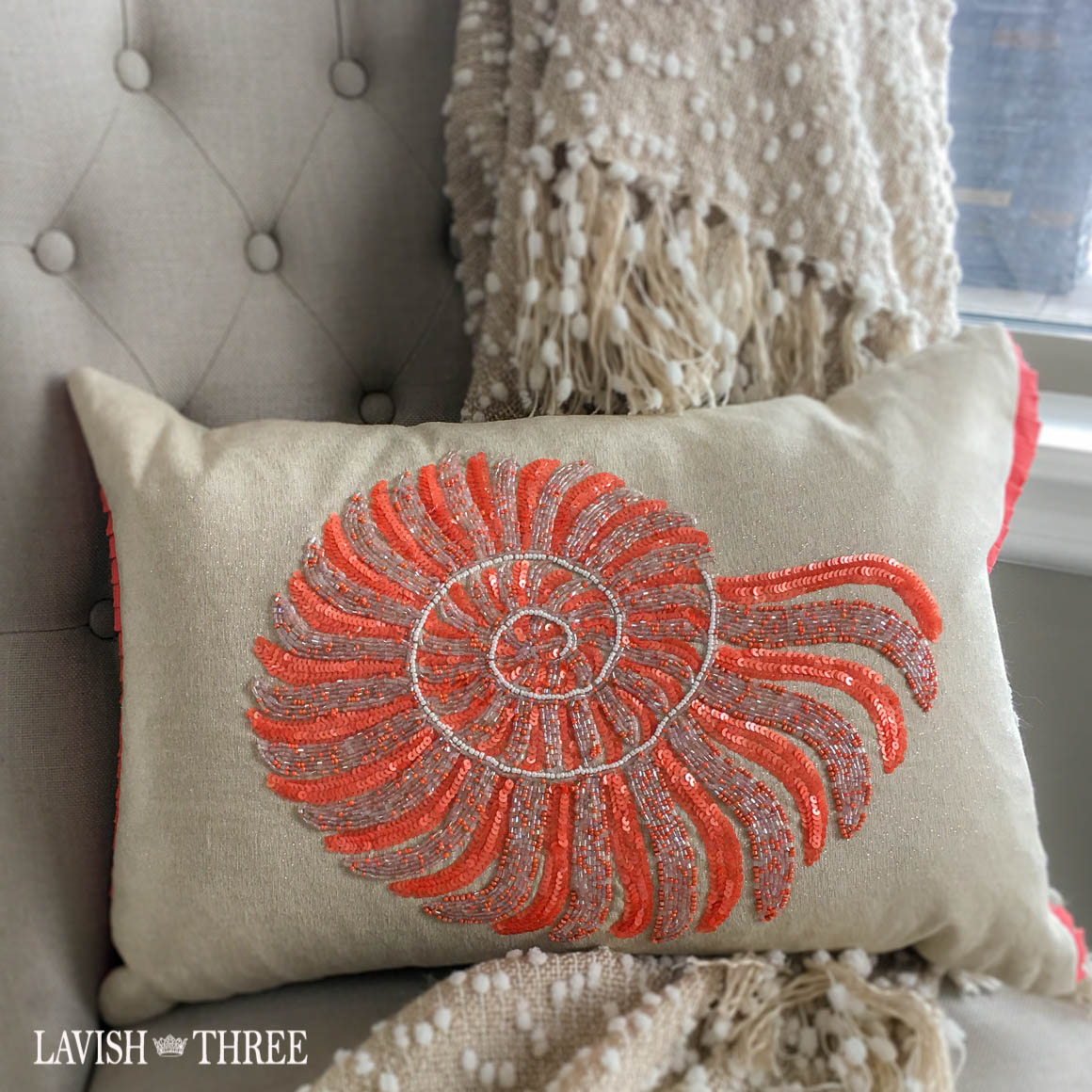 Tan orange beaded sea conch accent throw pillow lavish three 3