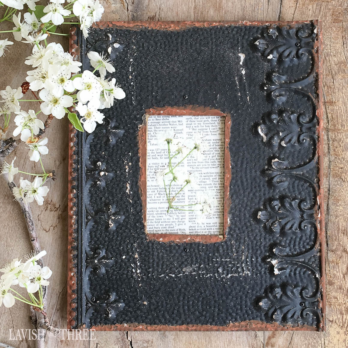 Shabby chic farmhouse french country black embossed metal frame 3x5