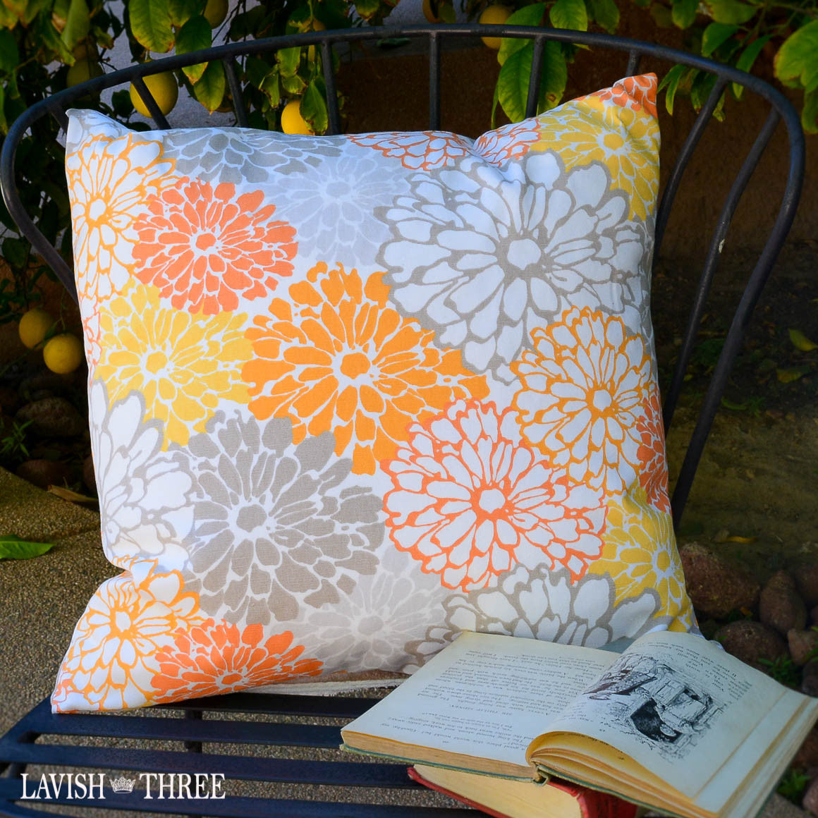 Summer mums floral throw accent pillow in orange, grey & white  lavish three 3