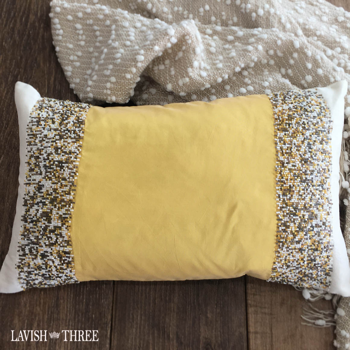 Yellow white brown beaded oblong throw accent pillow Lavish three 3