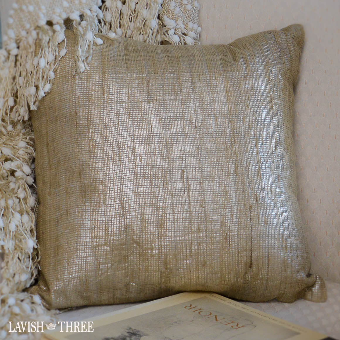 beige shimmer taupe decorative throw accent pillow lavish three 3