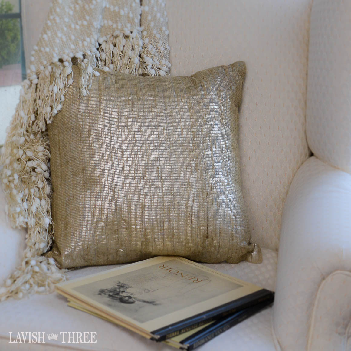 Textured taupe shimmer square decorative throw pillow