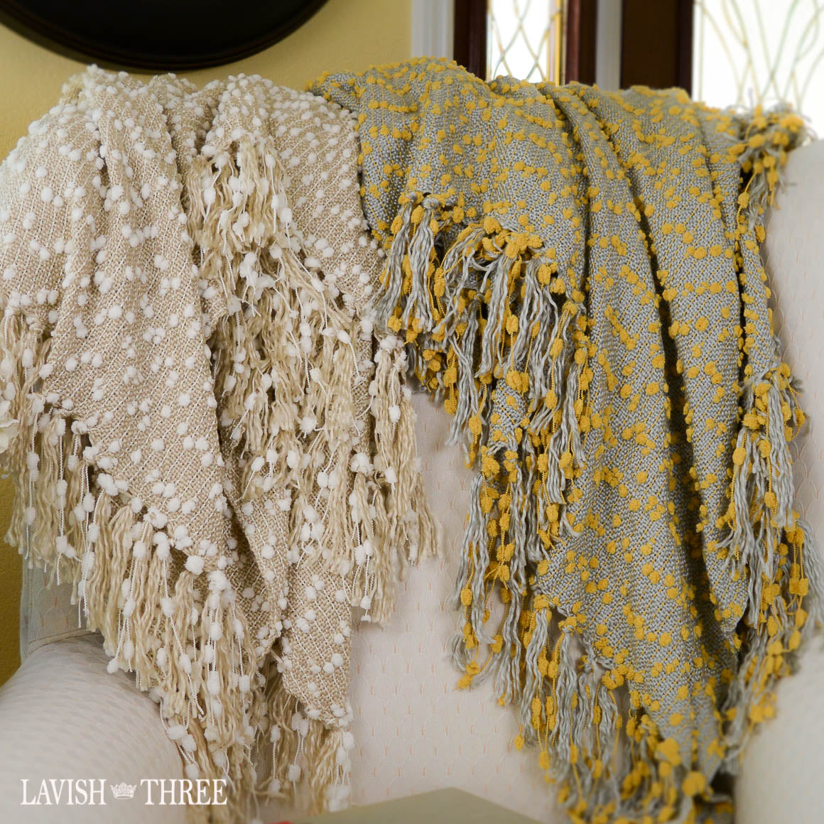 blanket throw pom pom yellow mustard white beige lavish three 3