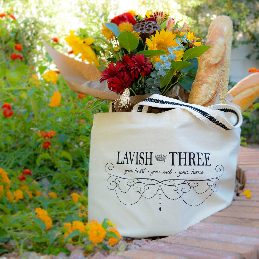 Lavish Three 3 large signature tote carryall cavas utility bag