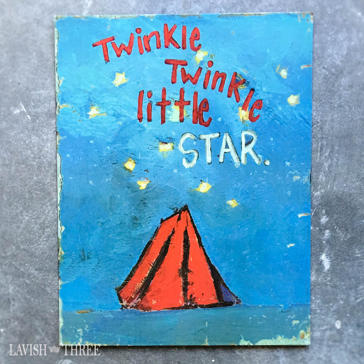 Twinkle twinkle little star blue white tin wall art sign childs room nursery decor