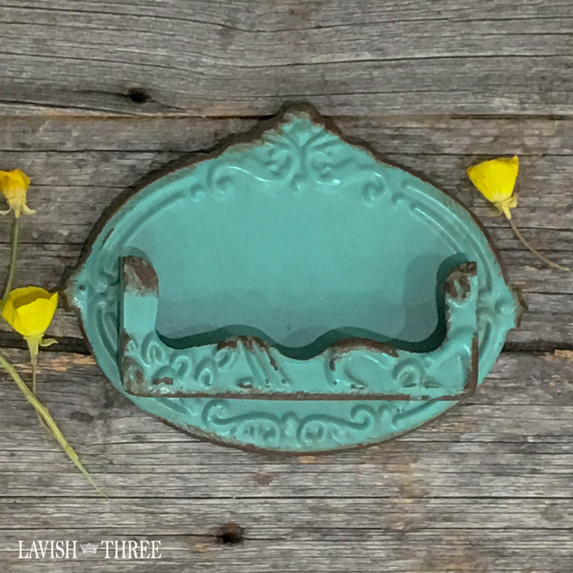 Vintage antique look shabby chic metal embossed business card holder blue green Lavish three 3