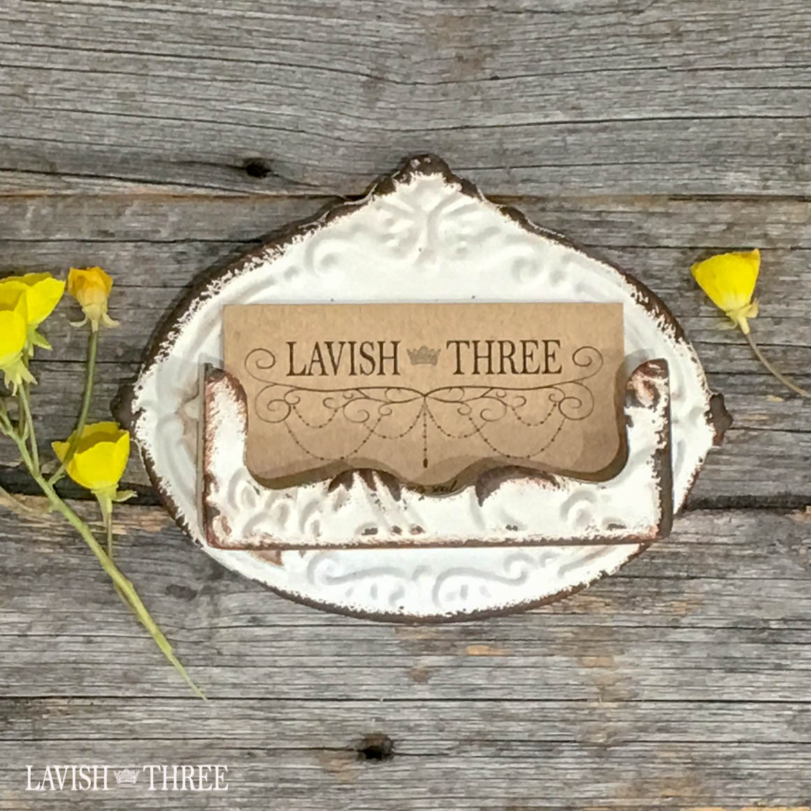 Vintage antique look shabby chic metal embossed business card holder white Lavish three 3