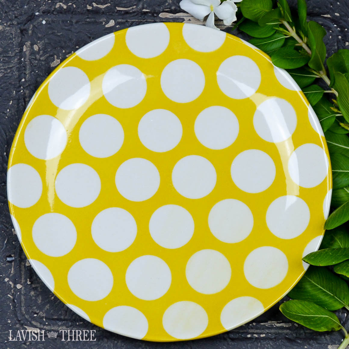 Colorful country style dessert, salad, side eclectic plates dishes in polka dot