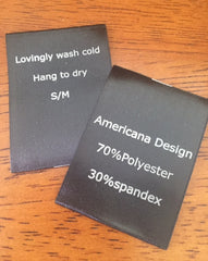 Black Satin Screen Printed Labels - Sew On - Custom Couture Label Company