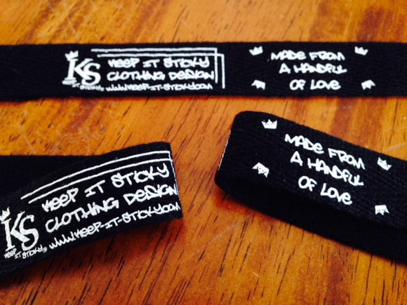 Black Cotton Printed Twill Tape Labels - Custom Couture Label Company