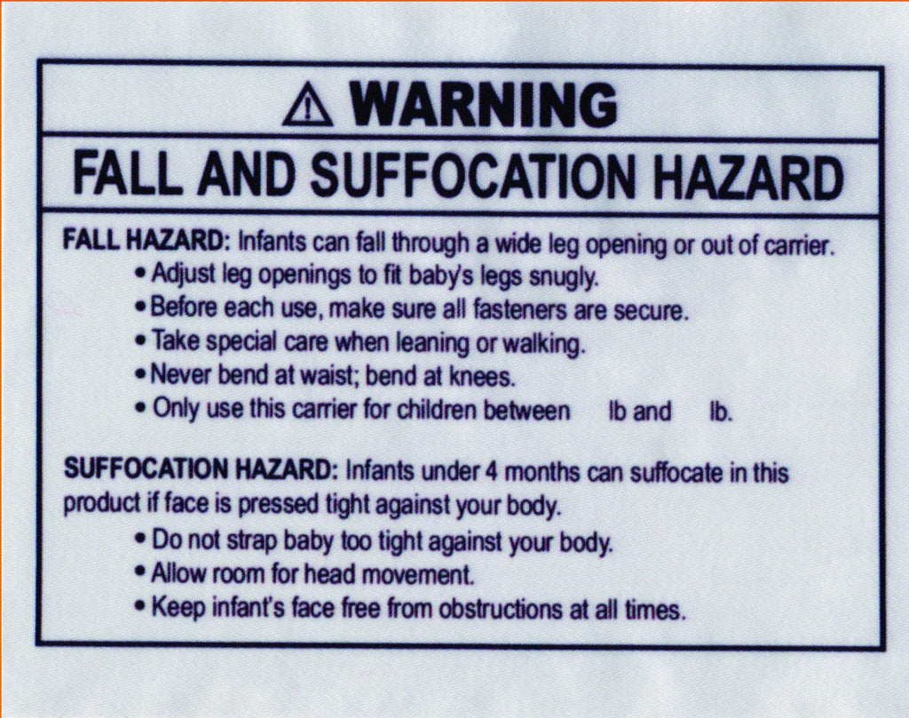 astm sling warning labels soft infant carrier labels fall and
