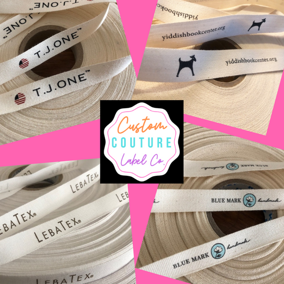 REORDER Printed Sew-in Fabric Label One and One-Half Inch Ribbon Flat or Folded natural or white Spool CUSTOM Twill