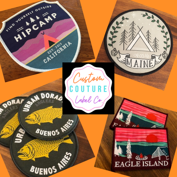 examples of woven iron on patches by Custom Couture Label Co