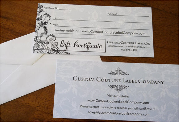 Gift Certificates - Custom Couture Label Company