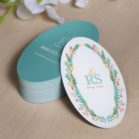 "2"" x 3.5"" Oval Hangtags or Business cards - Custom Couture Label Company"