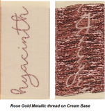 Example of Rose gold metallic thread - front and back of woven label