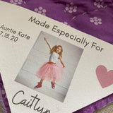 Little Girl's Quilt with Corner Quilt Photo Label by Custom Couture Label Company
