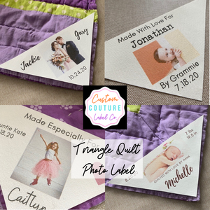 triangle photo quilt labels by Custom Couture Label Co