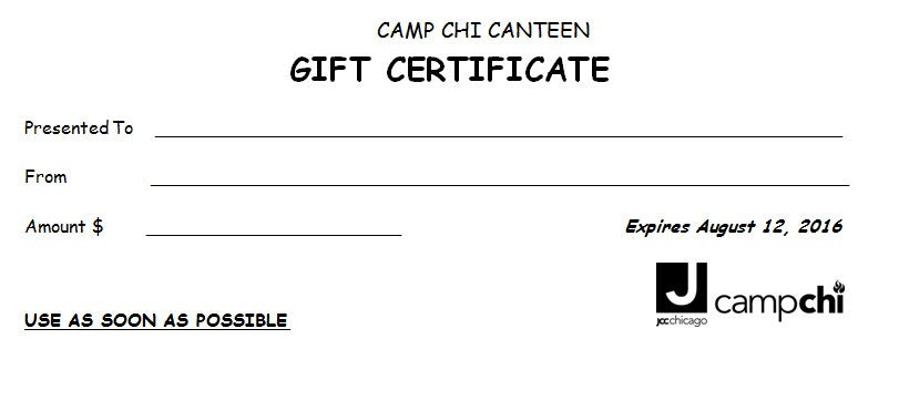 Camp Chi Canteen $25 Gift certificate