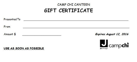 Camp Chi Canteen $10 Gift certificate