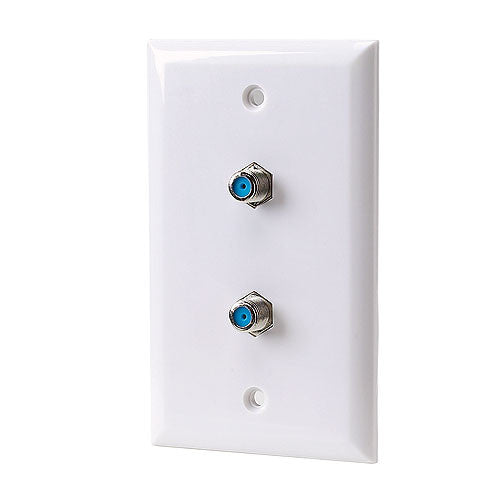 Dual F-Connector Plastic Wall Plate