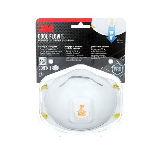 3M Cool Flow Sanding and Fibreglass Respirator 8511 Pack of 1