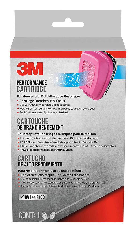3M P100 Replacement Cartridges for Household Multi-purpose Respirator, 2 Cartridges (1-Pair)