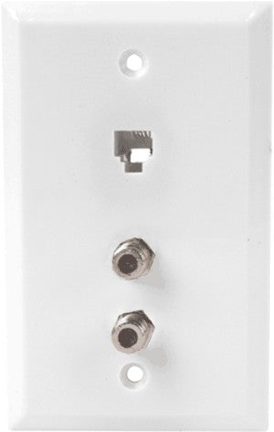 Dual Coax w/ Phone RJ-11 Wall Plate High-Freq White