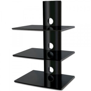 BEST 3-Tier DVD/Receiver/STB Wall Mount Glass Shelf Unit - Up to 66 lb (30 kg)
