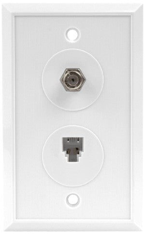Single coax w/ RJ-11 Phone Wall Plate - White