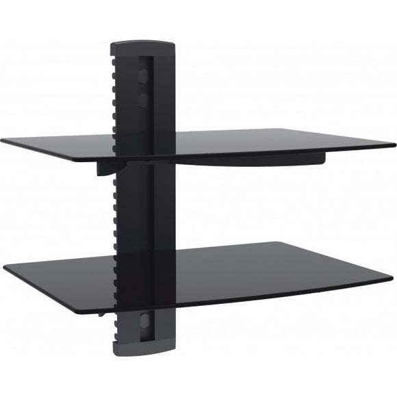 BEST 2-Tier DVD/Receiver/STB Wall Mount Glass Shelf Unit - Up to 18 ...