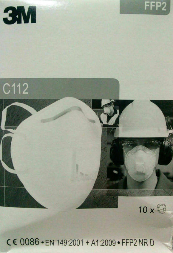 3M Respirator Face Mask C112 FFP2 With Breathing Valve Equivalent To N95 - 10 MASKS