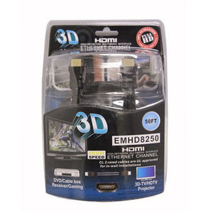 ELECTRONIC MASTER EMHD8250 50-FT HDMI MALE TO MALE CABLE