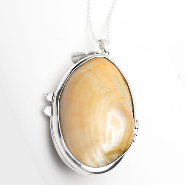Pearlised Shell perfume lockets