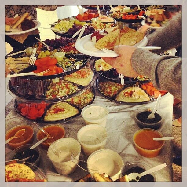 The most incredible falafel spread for Birchbox team lunch.:
