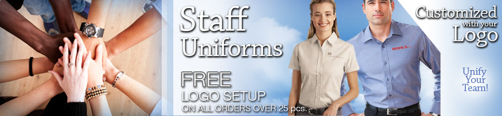 EZ Corporate Clothing - Custom Embroidered Logo on Staff Uniforms and Job Apparel