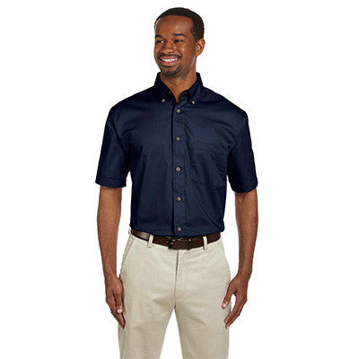 Harriton Mens Short-Sleeve Twill Shirt With Stain-Release - EZ Corporate Clothing  - 4