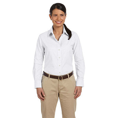 Harriton Ladies Long-Sleeve Oxford with Stain-Release - EZ Corporate Clothing  - 5