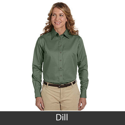 Harriton Ladies Long-Sleeve Twill Shirt With Stain-Release - EZ Corporate Clothing  - 7