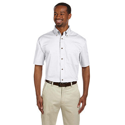 Harriton Mens Short-Sleeve Twill Shirt With Stain-Release - EZ Corporate Clothing  - 7