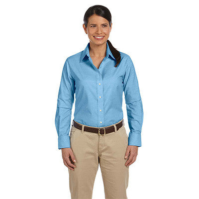 Harriton Ladies Long-Sleeve Oxford with Stain-Release - EZ Corporate Clothing  - 3